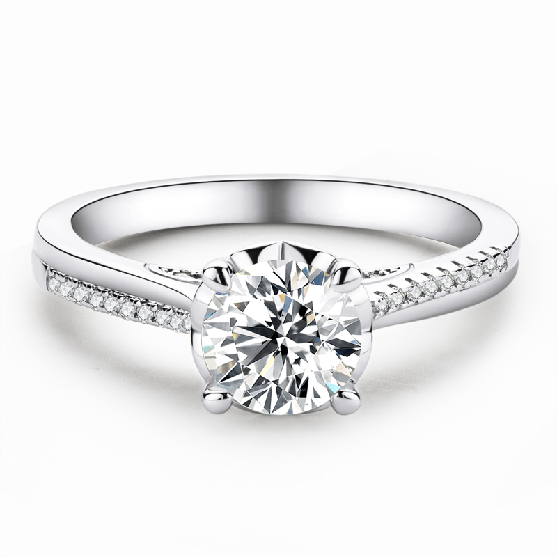 Halo Side Stones Round Cut 925 Silver Engagement Rings
