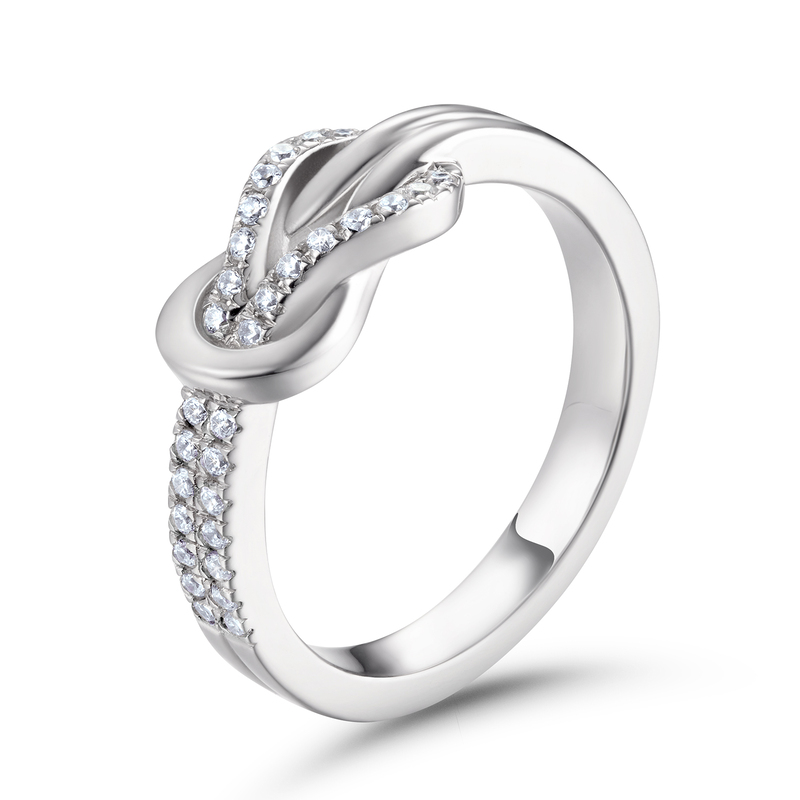 Knot Round Cut 925 Silver Women's Bands