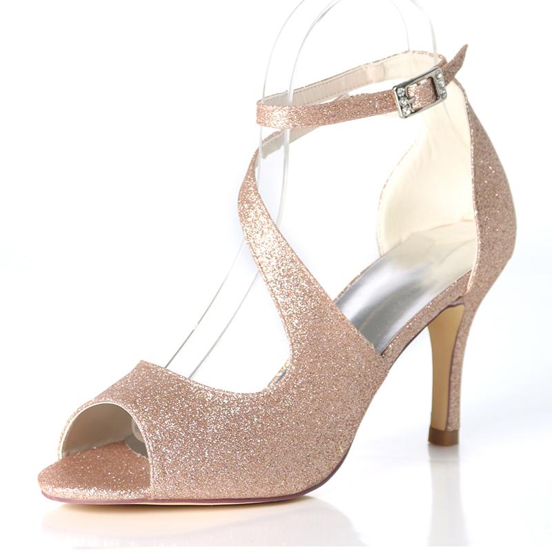 Frauen Funkelnde Glitzer Stöckel Absatz Absatzschuhe Sandalen mit Schnalle