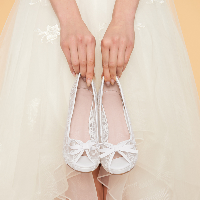 Women's Lace Stiletto Heel Peep Toe Beach Wedding Shoes With Ribbon Tie