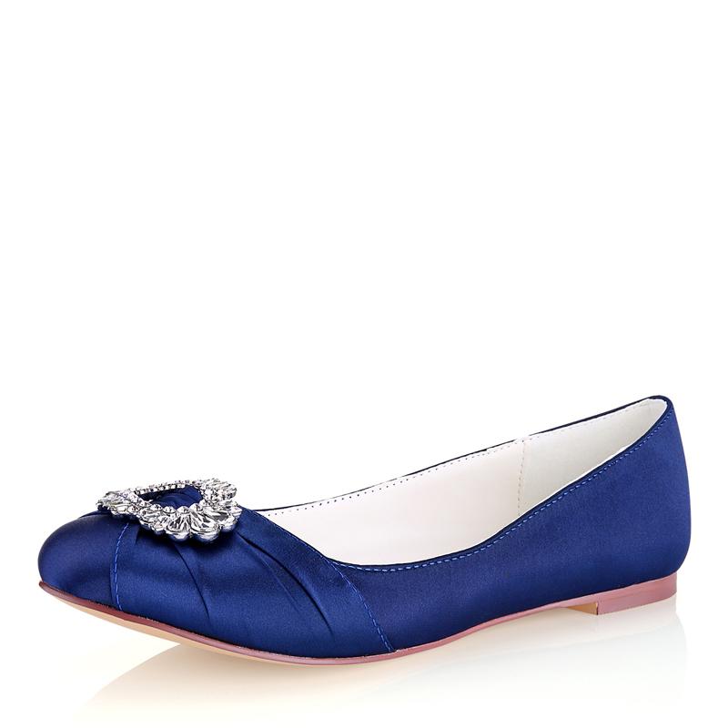 Women's Silk Like Satin Flat Heel Closed Toe Flats With Crystal
