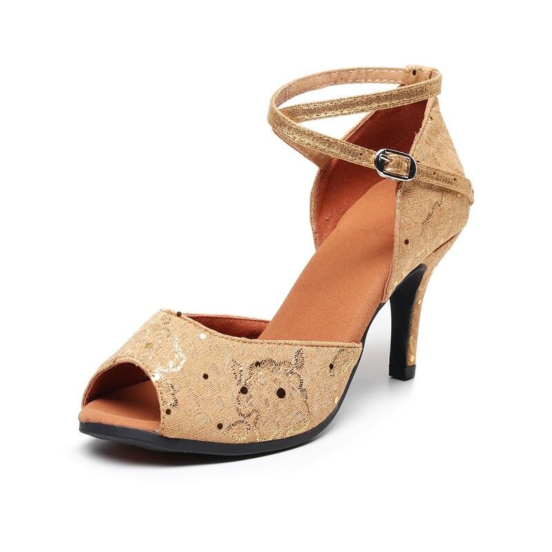 Women's Suede Sandals Latin With Animal Print Dance Shoes
