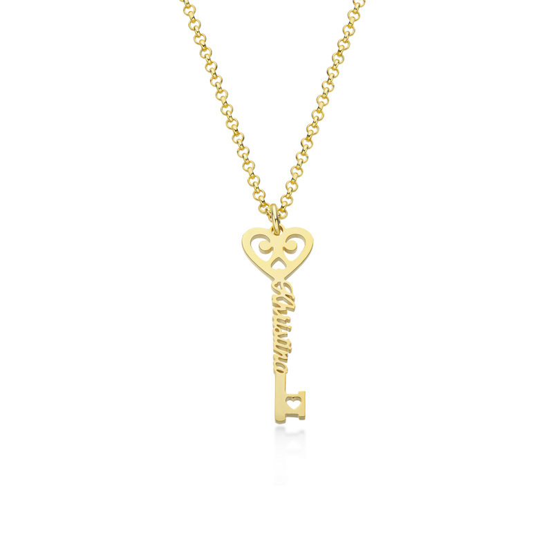 Custom 18k Gold Plated Key Letter Name Necklace With Heart - Birthday Gifts