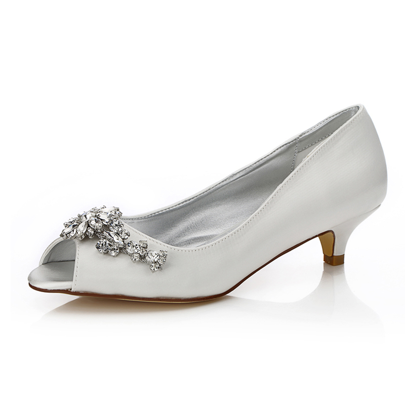 Women's Satin Low Heel Peep Toe Dyeable Shoes With Rhinestone