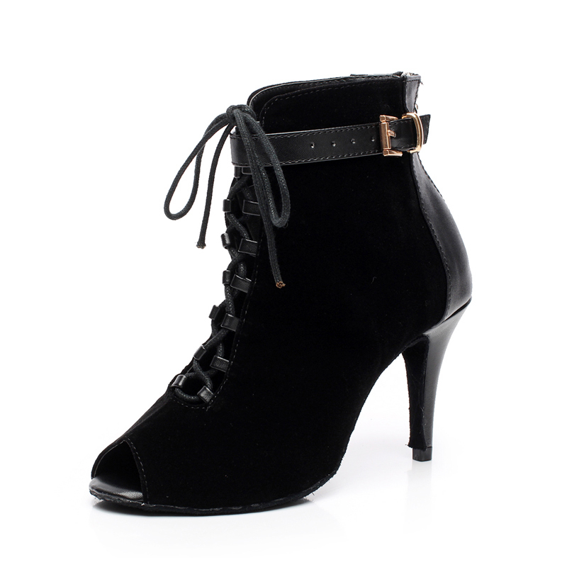 Women's Real Leather Suede Heels Boots Dance Boots With Buckle Lace-up Dance Shoes