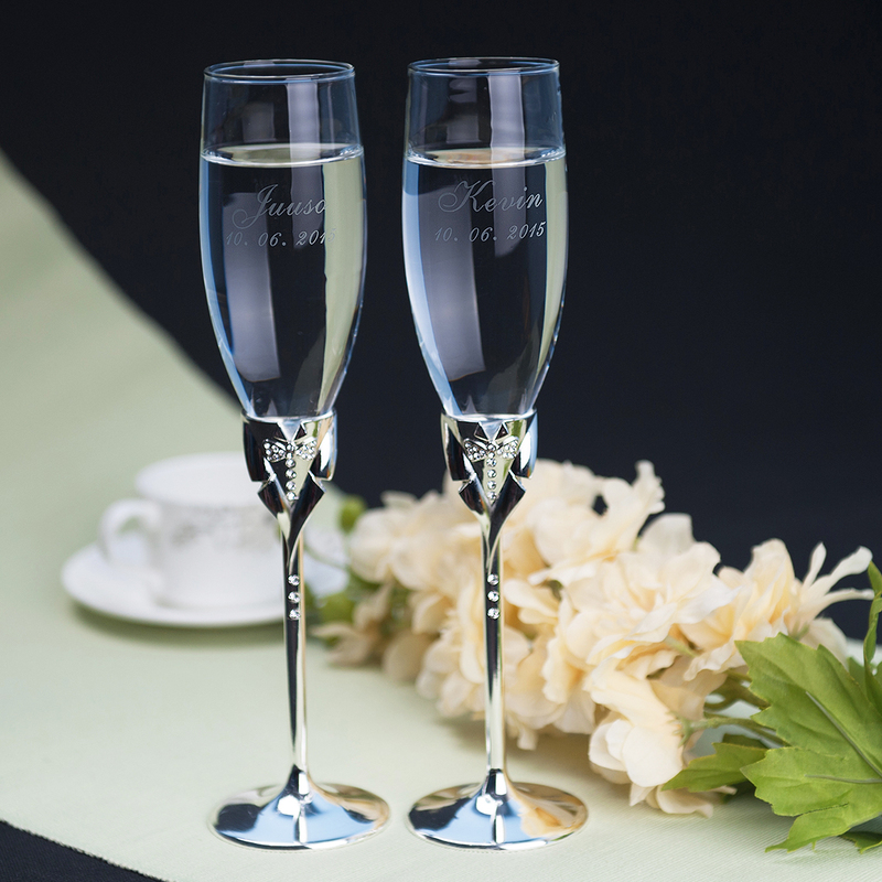 Personalized Bow Tie Glass Toasting Flutes (Set of 2)