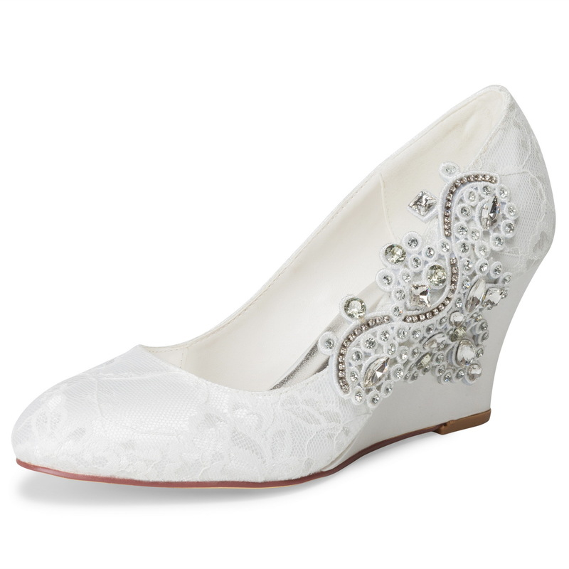 Women's Cloth Lace Wedge Heel Pumps Wedges With Beading Bowknot Applique