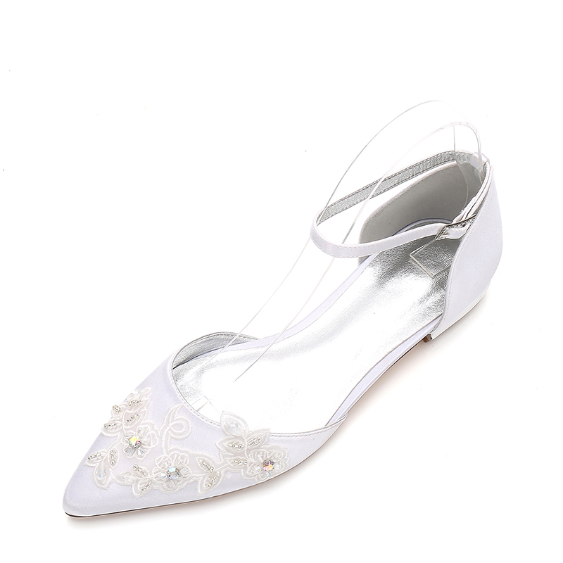 Women's Silk Like Satin Low Heel Closed Toe Flats With Buckle Rhinestone Applique