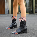 Women's Leatherette Low Heel Mid-Calf Boots Round Toe With Animal Print Splice Color shoes