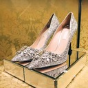 Women's Leatherette Sparkling Glitter Stiletto Heel Closed Toe Pumps With Sparkling Glitter Crystal