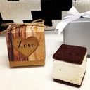Hearts in Love Rustic Wood Print Favor Boxes (Set of 12)