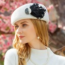 Ladies' Classic Wool With Feather Beret Hat