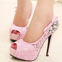 Women's Leatherette Stiletto Heel Pumps Peep Toe With Rhinestone Stitching Lace shoes