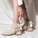 Women's Suede Chunky Heel Ankle Boots Round Toe With Lace-up shoes