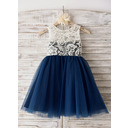 A-Line Scoop Neck Knee-Length Junior Bridesmaid Dress With Lace