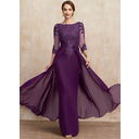 A-Line Scoop Neck Floor-Length Chiffon Lace Mother of the Bride Dress With Beading Sequins (008252073)