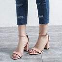 Women's Suede Chunky Heel Sandals Pumps Peep Toe With Buckle shoes (087118795)