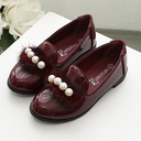 Girl's Closed Toe Patent Leather Flower Girl Shoes With Imitation Pearl