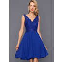 A-Line V-neck Knee-Length Chiffon Cocktail Dress With Sequins (016146673)