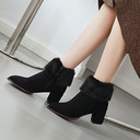 Women's Suede Chunky Heel Pumps Boots Ankle Boots With Zipper Faux-Fur shoes
