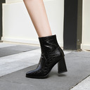 Leatherette Chunky Heel Flats Wedges Slippers With Zipper shoes