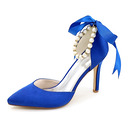Vrouwen Satijn Stiletto Heel Closed Toe Pumps met strik Imitatie Parel