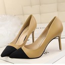 Women's Leatherette Stiletto Heel Pumps Closed Toe With Split Joint shoes
