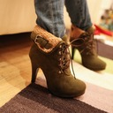 Women's Suede Cone Heel Platform Closed Toe Ankle Boots shoes