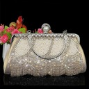 Shining Crystal/ Rhinestone/Polyester/Imitation Pearl Clutches/Wristlets/Top Handle Bags