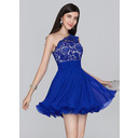 A-Line One-Shoulder Short/Mini Chiffon Homecoming Dress With Ruffle (300243980)