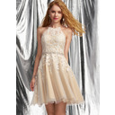 A-Line Halter Short/Mini Tulle Prom Dresses With Lace Beading Sequins (018254577)
