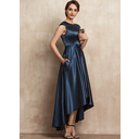A-Line Scoop Neck Asymmetrical Satin Mother of the Bride Dress With Bow(s) Pockets (008225565)