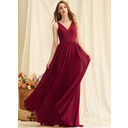 A-Line V-neck Floor-Length Chiffon Prom Dresses With Lace (018250204)
