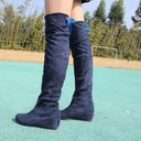 Women's Suede Wedge Heel Closed Toe Wedges Boots Knee High Boots With Bowknot shoes