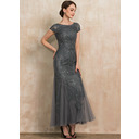 Trumpet/Mermaid Scoop Neck Ankle-Length Tulle Lace Sequined Evening Dress With Beading Sequins (017237034)