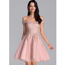 A-Line Off-the-Shoulder Short/Mini Tulle Homecoming Dress With Beading Sequins (022206533)