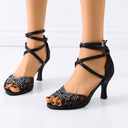 Women's Satin Sandals Latin Modern Ballroom With Rhinestone Hollow-out Dance Shoes
