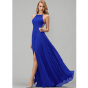 A-Line Scoop Neck Floor-Length Chiffon Prom Dresses With Split Front (272235674)