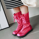 Women's Leatherette Flat Heel Flats Boots Mid-Calf Boots With Lace-up shoes
