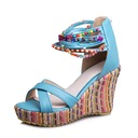 Women's Leatherette Wedge Heel Pumps Wedges With Beading shoes