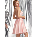A-Line Square Neckline Short/Mini Satin Homecoming Dress (300253530)