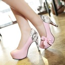 Women's Leatherette Chunky Heel Pumps With Lace-up Split Joint shoes