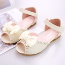 Girl's Peep Toe Ballet Flat Microfiber Leather Flat Heel Flats Flower Girl Shoes With Bowknot Velcro Flower