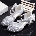 Girl's Round Toe Closed Toe Leatherette Sparkling Glitter Low Heel Flats Flower Girl Shoes With Bowknot Velcro