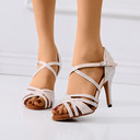 Women's Silk Sandals Latin Modern Ballroom With Buckle Dance Shoes