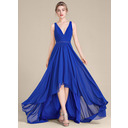 A-Line/Princess V-neck Asymmetrical Chiffon Bridesmaid Dress With Ruffle Beading Sequins (266183731)