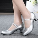Women's Real Leather Heels Pumps Character Shoes With Buckle Dance Shoes