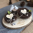 Bird Nest Wood Ring Holder With Twig
