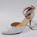 Women's Leatherette Stiletto Heel Closed Toe Pumps With Stitching Lace