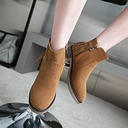 Women's Suede Chunky Heel Pumps Boots Ankle Boots With Zipper Tassel shoes